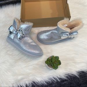 Ugg Silver Sequin Bow Boots